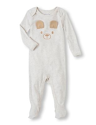 The Children's Place Baby Grey Applique Bear Coverall