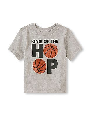 The Children's Place Toddler Boy Grey Short Sleeve 'King Of The Hoop' Graphic Tee