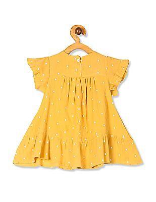 Donuts Yellow Girls Polka Dot Print Empire Waist Dress