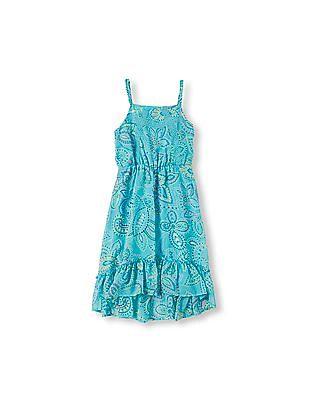 The Children's Place Girls Sleeveless Printed Crochet Trim Dress