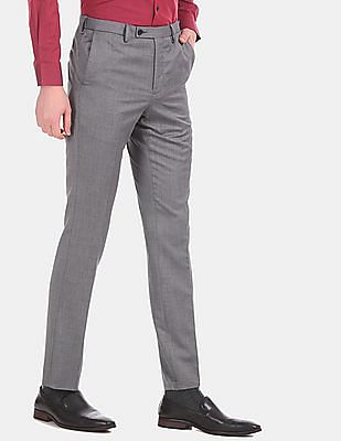 Arrow Men Grey Tapered Fit Patterned Formal Trousers
