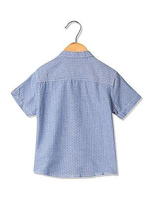 Cherokee Boys Patterned Weave Mandarin Shirt