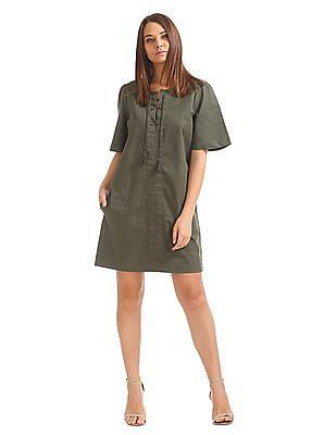 GAP Women Green Lace Up Shift Dress