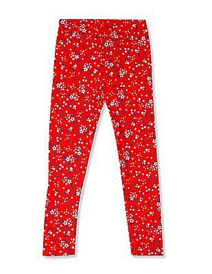 Cherokee Red Girls Elasticized Waist Floral Print Leggings