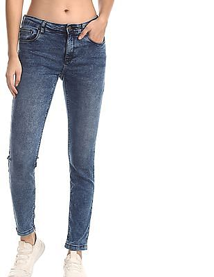 Cherokee Blue Mid Rise Washed Jeans