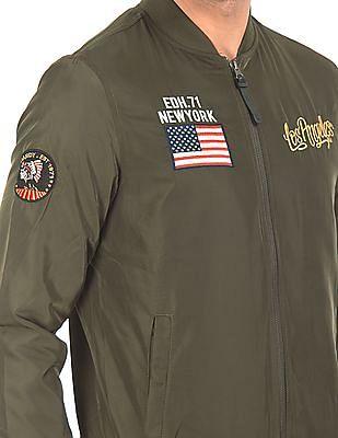 Ed Hardy Appliqued Bomber Jacket