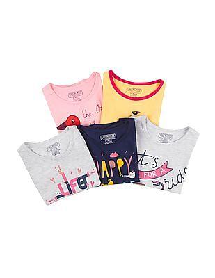 Cherokee Girls Cotton T-Shirt - Pack Of 5