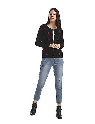 Cherokee Black Embroidered Accent Buttoned Cardigan