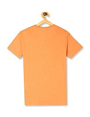 U.S. Polo Assn. Kids Orange Boys Brand Print Crew Neck T-Shirt
