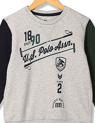 U.S. Polo Assn. Kids Boys Printed Full Sleeve Sweatshirt