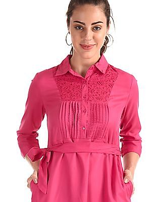 Cherokee Pink Spread Collar Solid Dress