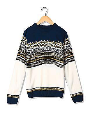 Cherokee Boys Crew Neck Patterned Knit Sweater