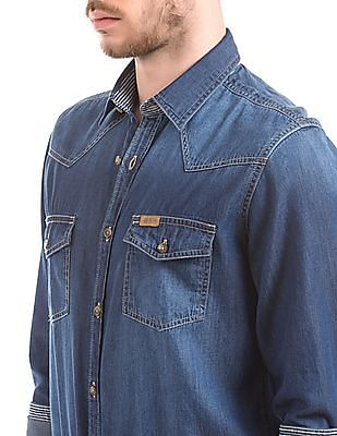 U.S. Polo Assn. Denim Co. Washed Slim Fit Chambray Shirt