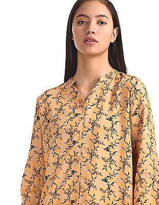 Cherokee Yellow Drawstring Sleeve Printed Shirt
