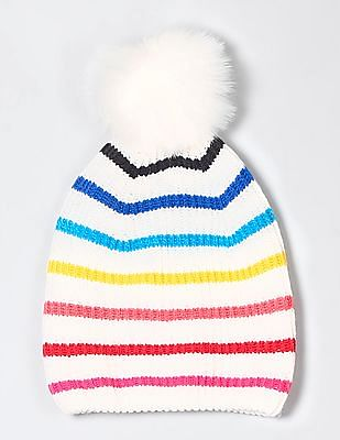 GAP Crazy Stripe Pom-Pom Beanie