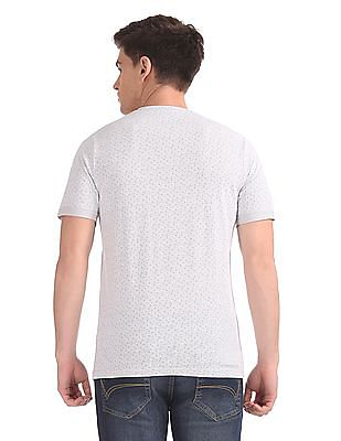 Cherokee Printed Henley Neck T-Shirt