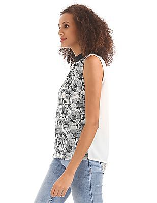 Elle Studio Contrast Collar Printed Top