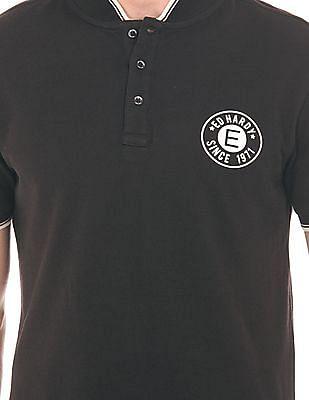 Ed Hardy Stand Collar Printed Polo Shirt