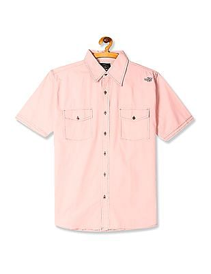 Flying Machine Pink Flap Pocket Solid Shirt