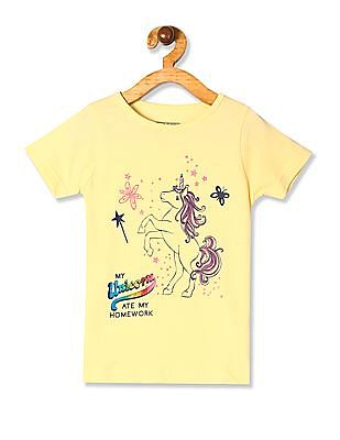 Cherokee Yellow Girls Crew Neck Unicorn Print T-Shirt