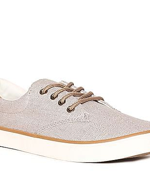 The Children's Place Boys Beige Canvas Lace-Up Sneakers