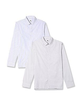 Excalibur Assorted Long Sleeve Vertical Stripe Shirt - Pack Of 2