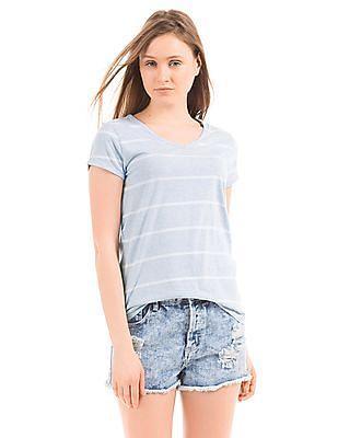 U.S. Polo Assn. Women Striped Regular Fit T-Shirt
