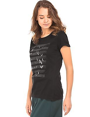 Cherokee Bird Print Cotton T-Shirt