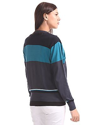 U.S. Polo Assn. Women Colour Blocked Buttoned Sweater
