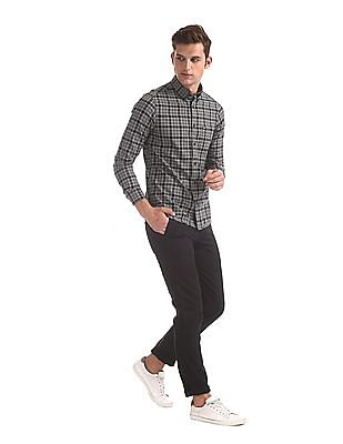 Arrow Sports Grey Button Down Collar Check Shirt