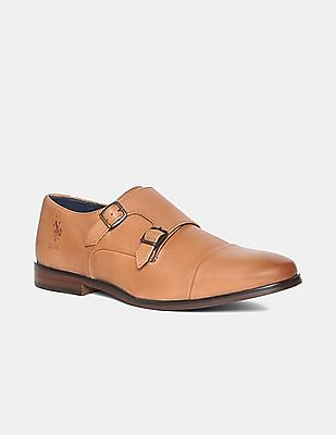 U.S. Polo Assn. Brown Burnished Cap Toe Monk Strap Shoes