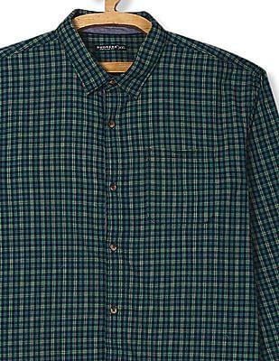 Ruggers Green Regular Fit Check Shirt