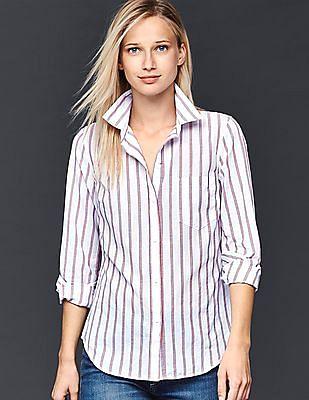 GAP Women White Fitted Boyfriend Stripe Shirt