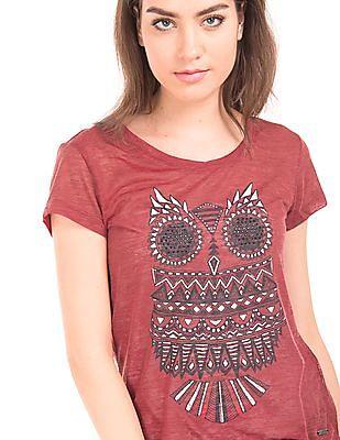 Flying Machine Women Owl Print Embellished Top