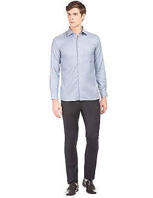 Arrow Patterned Weave French Placket Shirt