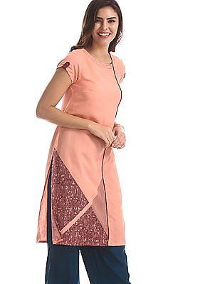 Karigari Pink Short Sleeve Panelled Kurta