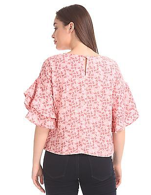 Elle Studio Layered Sleeve Boxy Top