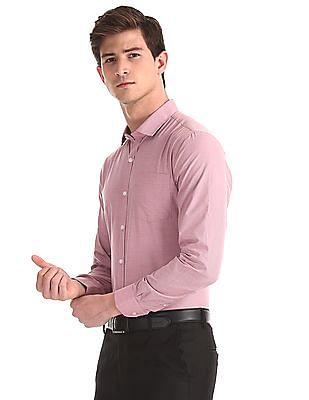 Excalibur Pink Patch Pocket Patterned Weave Shirt