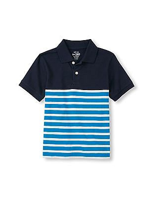 The Children's Place Boys Short Sleeve Solid-To-Striped Polo