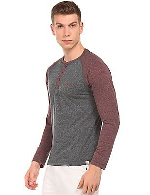 Cherokee Raglan Sleeve Heathered Henley T-Shirt