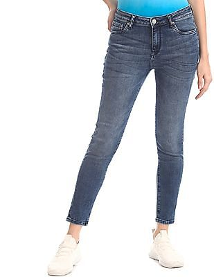Aeropostale Blue Mid Waist Cotton Stretch Jeans