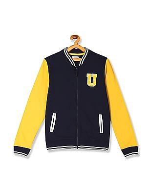 U.S. Polo Assn. Kids Blue Boys Colour Block Zip Up Sweatshirt