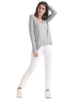 GAP Women Grey Long Sleeve Striped Rayon Top