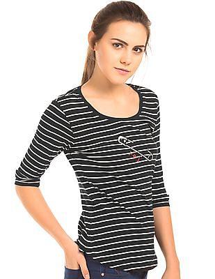 Flying Machine Women Striped Cotton T-Shirt