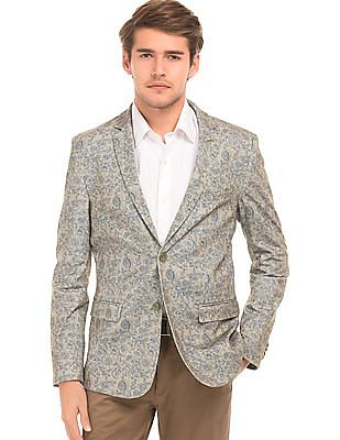 Arrow Sports Floral Print Slim Fit Blazer