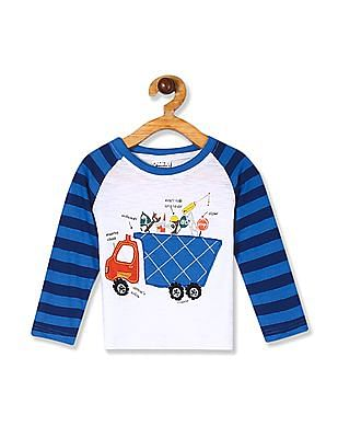 Donuts White And Blue Boys Raglan Sleeve Printed T-Shirt