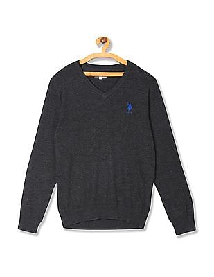 U.S. Polo Assn. V Neck Heathered Sweater