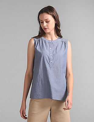 GAP Sleeveless Popover Shirt in Chambray