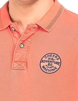 Flying Machine Solid Cotton Pique Polo Shirt