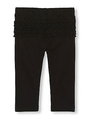 The Children's Place Baby Girl Black Ruffle Bottom Knit Pants